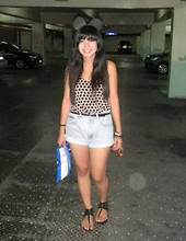 Paola Alexandra - Mickey Ears, Forever 21 Polka Top, Black Skinny Belt, Denim Shorts, Zara Black Strappy - Hey Mickey you're so fine