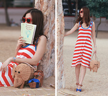 Mayo Wo - H&M Apple Shades, Laurustinus Striped Dress, Kate Spade Elephant Basket, Viktor & Rolf Bow Clogs - Hey beach, long time no see