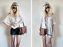 Amy S - Thrifted Leather Shorts, The Lot Leather Satchel - Sun Hands