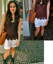 Thais Marie - Vintage Crochet Tank, Lucky Brand White Linen Shorts, Vintage Brown Leather Embroidered Bag, Spain Jewel Cross Necklace - Es-So