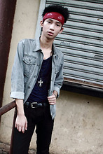 Lanz Paolo - Topman Denim Jacket, Topman Loose Shirt, F&H Cross Pendant, Topman Black Skinny Jeans, Dr. Martens Leather Boots(Scroll Down To See It) - Heavy Metal Lover