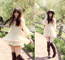 Rachel-Marie Iwanyszyn - Lace Tie Up Dress, Khaki Shorts, Ray Bans Shades, White Tights, Dolce Vita Brown Thigh High Boots - IN THE SUN.