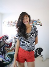 Amy P. - Tribal Print Loose Top, Red Denim Highwaisted Shorts, Black Braided Skinny Belt - You're far from the usual