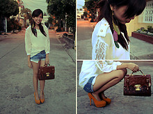 Gela Muñoz - Fancieta Lace Sleeved Dress Shirt, Random Denim Shorts, Fancieta Laced Bag, Fancieta Mustard Heels, Maris Feather Earring - The Simple Things