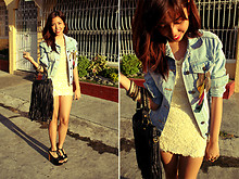 Gela Muñoz - Thrifted Denim Jacket, Fancieta Body Con Lace Dress, Fancieta Fringe Bag, Jeffrey Campbell Dupes - Earring Badges