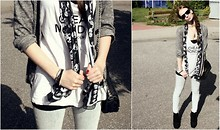 Caro X. - H&M Cardigan, Cheap Monday Long Top, Urban Outfitters Treggings, Primark Handbag, Ray Ban Sunglasses - Today is cheap monday..