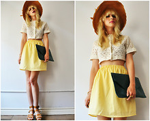 Coury Combs - Vintage Checked Yellow Skirt, Vintage Cropped Lace Top, Topshop Sandals, Romwe Clutch, Vintage Hat - Summer girls come and summer girls go.