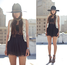 Aimee Song - Simply Audrey Lace Crochet Vest, Anarchy Street Black Lace Bustier Dress, Alexander Wang Abbey Heels - Tough Lace