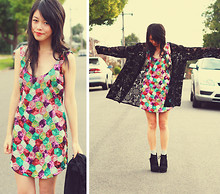 Connie Cao - SuprÉ Dress, Vintage Cardigan, Asos Wedges - RAINBOW FISH
