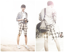 Michael (makol) Reginales - Converse Personalized Shoes, Checkered Fitted Shorts, Blue Belt, Colours Basic Blue Polo - Lets have a walk :)