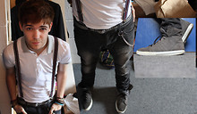 Andrew P - Polo White/Grey Shirt, Supra Grey Suede Hi Top Muska, H&M Slim Grey Jeans, Camden Market Braces - Where I stood ♪
