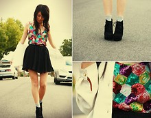 Connie Cao - SuprÉ Chiffon Skirt, SuprÉ Sequin Dress Worn As Top, Vintage Blouse, Asos Wedges - SUPER SEQUIN