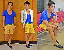 Kutik T - Anthony Nocom White Linen Blazer, Zara Blue V Neck Tee, M Sense Green Leather Belt, Markus Yellow Shorts, Toms Navy Classic - On a summer getaway