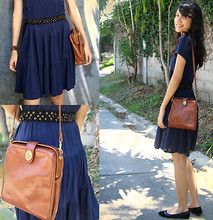 Patricia Luna - Forever 21 Navy Blue Dress, Caramel Vintage Bag, Beaded Belt - Sunday Afternoon