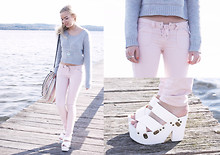 Kristal Anderson - Supre Grey Crop Jumper, Asos Pink Lace Up Jeans, Diy Woven Bag, Ebay Platform Wedges, Vintage Necklace - Sundays by the sea xox