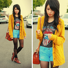Connie Cao - Vintage Bag, Romwe T Shirt, Urban Outfitters Cardigan, SuprÉ Denim Shorts, Romwe Tights, Vintage Boots, Socks - JUST A ROLLING STONE