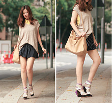 Mayo Wo - Nymph Yellow Sleeveless Shirt, Fendi Beige Bag, Finsk Strappy Wedges - Finsking
