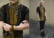 Andre Judd - Protacio Cuffed Volume Pants, Snakeskin Bag, Dad's Vintage Shirt, Chains With Crystals, Armor Cuff With Citrine Crystal, Metal Cuff/Band With Citrine Stones, Black Rock Ring, Vintage Micro Fine Corduroy Jacket With Indian Embroidery - EVERYDAY IM SHUFFLING