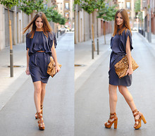 Zina CH - The Wardobe Dress, Friis & Company Shoes - Blue & Camel