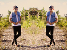 Damian Gonzalez - Salvation Army Denim Vest, Forever 21 Gold Necklace, Diy Anchor Shirt, H&M Black Skinny Jeans, Aldo Boots - Inception