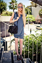 Marie Hamm - Marc By Jacobs Sunglasses, Vintage Silk Neck Tie, 3.1 Phillip Lim Tunic Dress, Proenza Schouler Bag, Chloé Heels - They Call Us Los Angelinos.