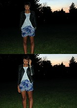 "Soraya S. - Forever 21 Heather Grey Top, Forever 21 ""Leather"" Jacket, Forever 21 Patterned Shorts - Life Is Simple In The Moonlight"