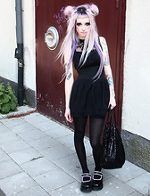 Angelica Sehlin - H&M Dress, Demonia Shoes, Kappahl Stockings, Bikbok Bag, Kreepsville 666 Hairclips - Feeling like a phony when I´m riding on my pony.