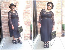 Sbhe Ke kuhle - Thrift Store Lace Shirt, Thrift Store Hat, Thrift Store Skirt, Thrift Store Bag - All Black Everything