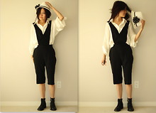 Iwona M - Pixie Market Knee Jumpsuit, Jeffrey Campbell Boots, Le Chateau Hat - The Black and White