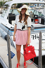 Katie M - American Eagle Hat, Sugar Lips Shirt, J. Crew Skirt, Francesca's Purse, New York & Company Sandals - Ships Ahoy