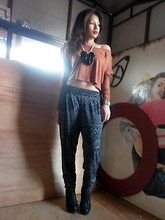 Jo Estrella - Topshop Cropped Sweater, Forever 21 Harem Pants - Going Tribal
