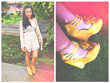 Ish Manuelle - Forever 21 Champagne Fleur Dress, Janilyn Mustard Wedge - Cream Puff