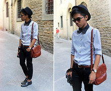 Jerome Centeno - Zara Hat, Striped Shirt, Topman Floral Bow Tie, Vintage Leather Bag - Street Style Photographer