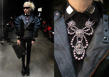 Andre Judd - Lee Custom Made Denim Couture Jacket, Jerome Lorico Button Down Shirt With Mirrored Collar, Edwardian Style Neckpiece, Boss Embossed Patent Clutch, Calf High Laced Up Military Boots - DenImagine