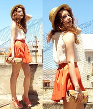 Sofie H - H&M Hat, Zara Skirt, Http://Sofiehn.Blogspot.Com/ - ORANGE SKIRT