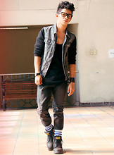 David Guison - Topman Denim Vest With Jersey Sleeves, Walker Tank Top, Eastwood Bazaar Leather Bracelet, Forever 21 Distressed Jeans, Adidas Striped Socks, Vagabond Combat Boots - We Are Nowhere And Its Now