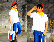 Reyner Cadapan - Kultura Red Strawhat, Yellow Neckerchief, Made In The Philippines White Summer Shirt, Diesel Jeans, Made In The Philippines Makata Bag - INDI-PENDENCE