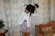 Habin Kim - American Apparel Chiffon Floral Skirt, Jaeger Long Sleeved Top, Vintage Scallop Edge Vest Top - Adornais.