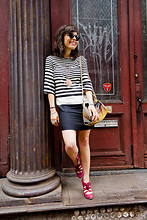 Jennine Jacob - Zara Striped Dress, Pendleton Tribal Print Bag, Tracy Reese Pink Pumps - Can't change your stripes