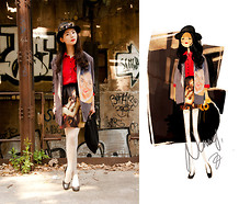 Nancy Zhang - Yohji Yamamoto Blazer, Dries Van Noten Heels, D&G Skirt - When eastern painting meet western painting.