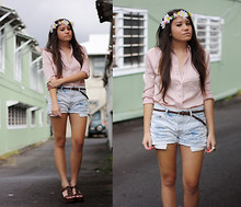 Alyssa J. - I Made It Self Made Floral Headpiece, Target Blush Button Up, Levi's® Denim Cutoffs - BLUSH