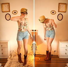 Ama Reid - Fourskin Wonderful Hat, The Little Warehouse High Waisted Shorts, Vintage Cowboy Boots, Billy & Lola Backless Cotton Bathing Suit, Ray Ban Seeing Glasses - All the leaves are brown & the sky is grey