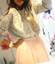 Aliya Pakravan - Hnm Tutu, Topshop Studded Sweater, Cbyclarissa Gold Chains - Who's in my mirror?