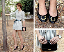 Victoria Y - Topshop Golden Horse Shoe Ballerinas, Topshop Striped Low Back Dress, Borrowed It From A Coat I Seldom Wear Satin Blue Belt, Summer Braids, Vintage An Old But Beloved Clutch - Horse-Shoes for luck *U*