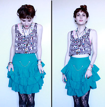 Elizabeth Eleanor - American Apparel Crap Tap, Thrifted Fancy Skirt, Lace Fishnets - Don't believe in modern love