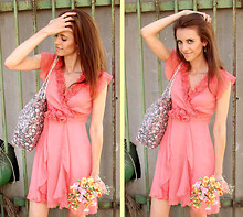 Victoria Y - Asos Rosette Chiffon Dress, Primark Sequined Floral Tote, Vintage Teardrop Golden Earrings - Je vais bien, ne t'en fais pas