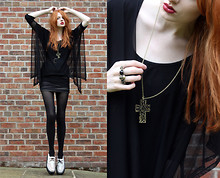 Olivia Emily - Mesh Drapey Top, Skull Double Ring, Cross, Topshop Mesh Wrap Skirt, Charity Shop Creepers - The Quiet Riot
