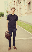 Sergey N. - River Island Satchel, Topman Brown Boat Shoes, Farah Vintage Polo, Asos Slim Fit Chinos - On-The-Go