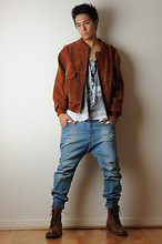 Adrian Gonzales - Thrift Store Jacket, Topman Arc Fit Cuffed Jeans, Asos Boots, I Made It Yonkers  Stenciled Singlet - YONKERS