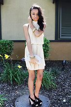 Amara nichole . - Giorgio Armani Clutch, Sleeveless Pleated Dress, Bow Platform Heels, Forever 21 F21 - Golden.
